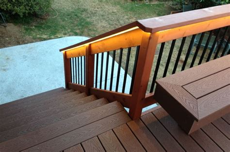 decking benches deck with bench composite redwood traditional deck