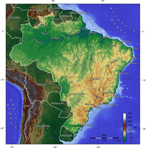 brazil map mountains in brazil map