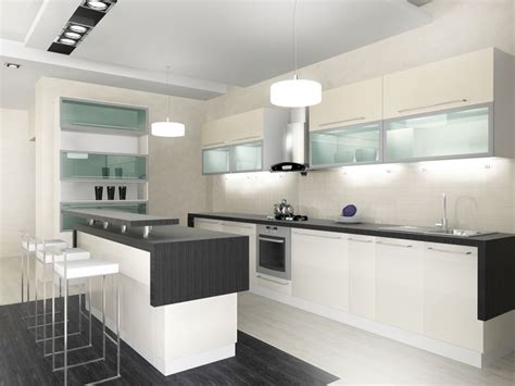 custom black and white kitchen with white cabinets and