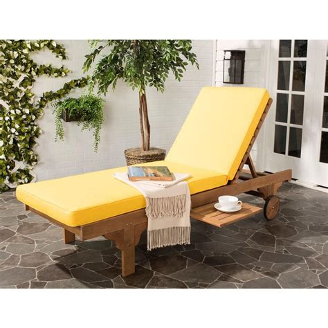 yellow outdoor chaise lounge cushions safavieh newport teak brown outdoor patio chaise lounge