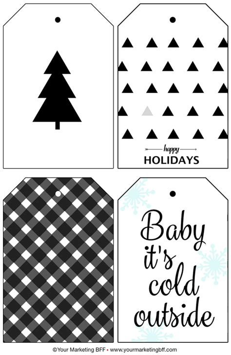modern holiday gift tags free printable
