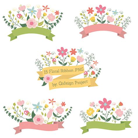 Wedding Ribbon Banner by Items Similar To 15 Floral Ribbon Banner Clipart Flower
