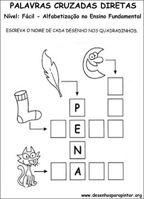 Palavras Cruzadas para Crianças em Alfabetização no Ensino