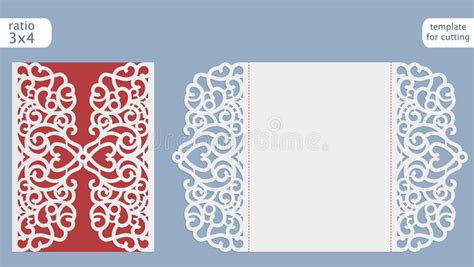 Laser Cut Wedding Invitation Card Template Vector Cut Out The Paper Card With Lace Pattern Laser Cut L Template