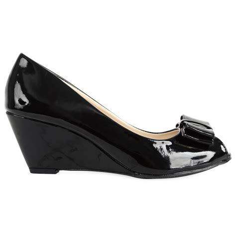 womens patent shiny black low wedge heeled peep toe
