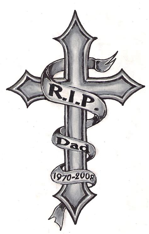 rip cross banner tattoo design
