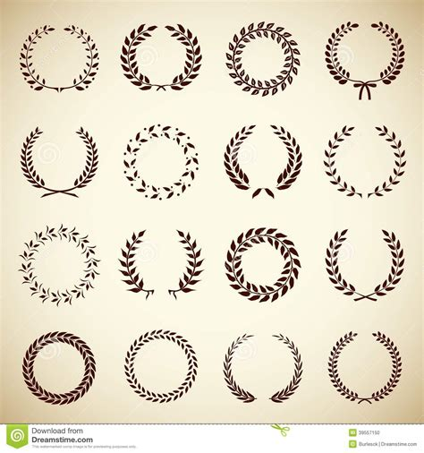 certificate design elements vector collection of vintage laurel wreaths stock vector image