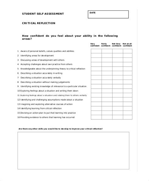 student self evaluation templates sle student self assessment 6 documents in pdf