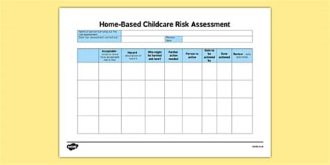 Home Based Childcare Blank Risk Assessment Care Home Risk Assessment Template