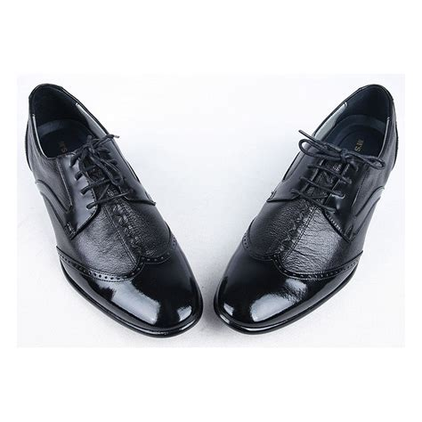 mens black leather wing tip lace up dress shoes