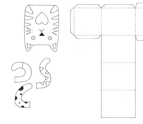 cat card template cat motifs gift box templates free card