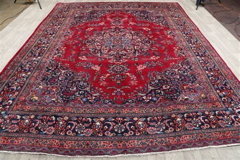 10 X 12 Area Rugs Cheap Clearance 9x12 Floral Mashad Area Rug Carpet 11 10 Quot X 9 5 Quot Ebay