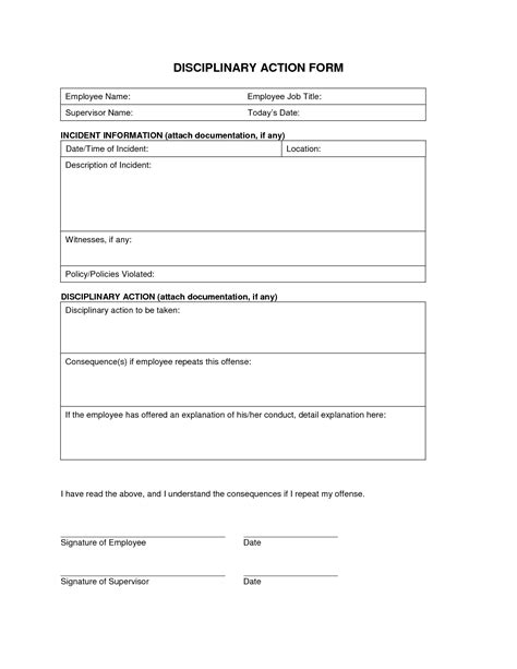 disciplinary action form template anuvrat info