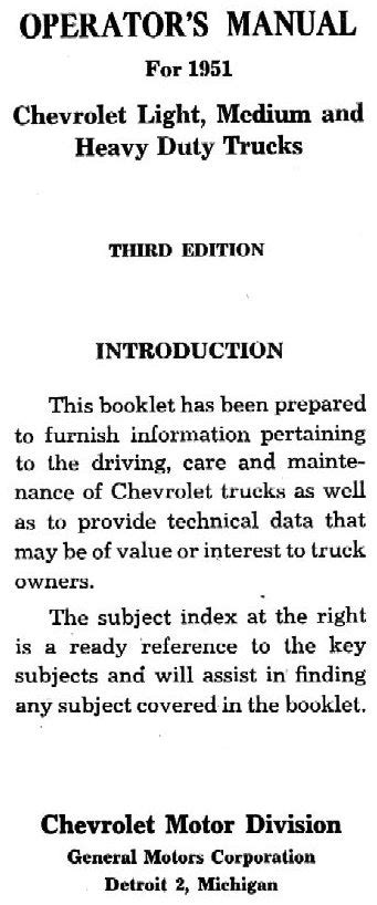 1951 Chevy Owner S Manual