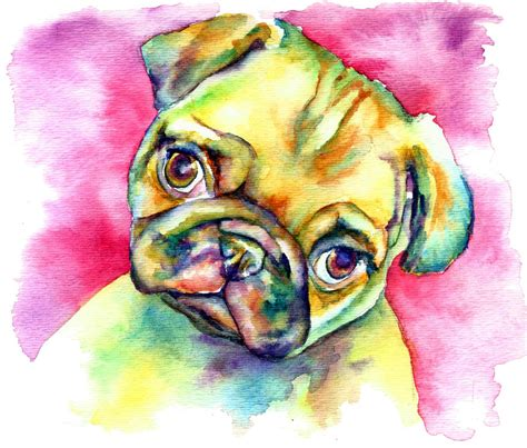 pug paintings for sale pink pug watercolors for sale and pink