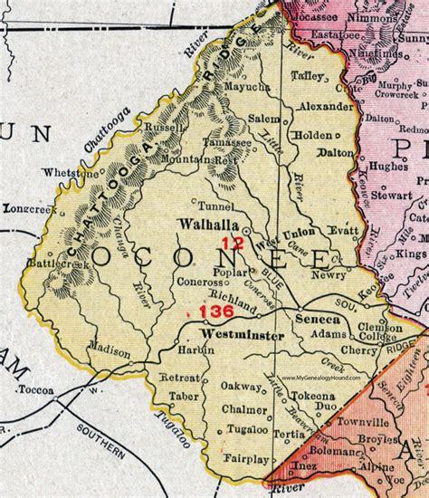 Oconee County Sc Records Oconee County South Carolina 1911 Map Rand Mcnally Walhalla Seneca Westminster