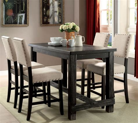 sania ii antique black counter height dining room set from