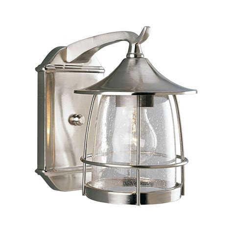 Progress Outdoor Lighting Progress Outdoor Wall Light With Clear Glass In Brushed Nickel Finish P5763 09 Destination