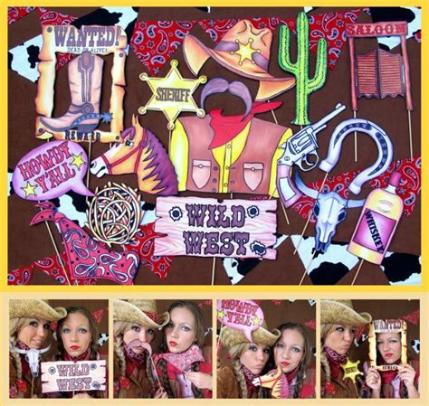 wild west printable photo booth props cowboy cowgirl western photo booth props perfect for your