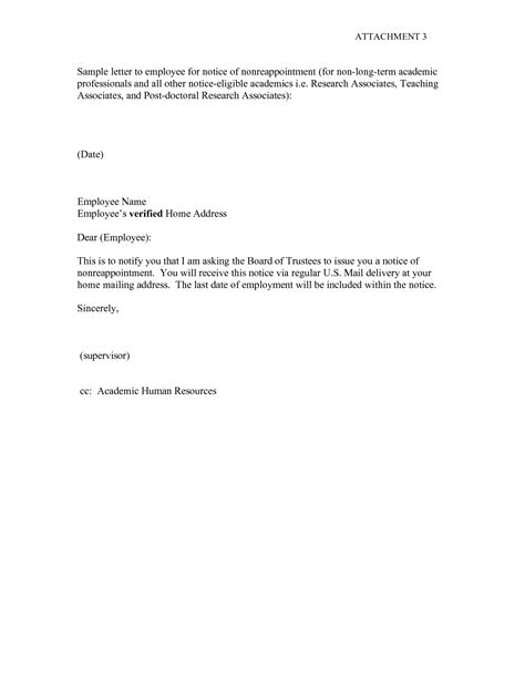 best photos of work notice letter template employee