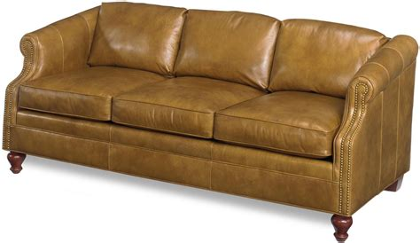crafted top grain leather sofa new nailhead accents