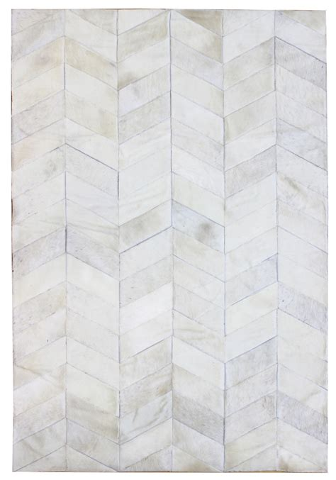 Modern White Rug Herringbone Modern Leather Rug Herring White