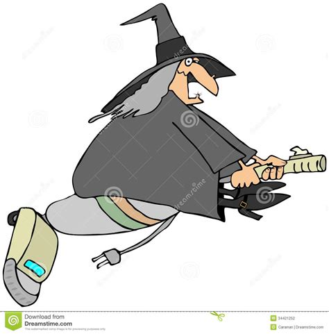 libro the witchs vacuum cleaner modern witch stock photography image 34421252