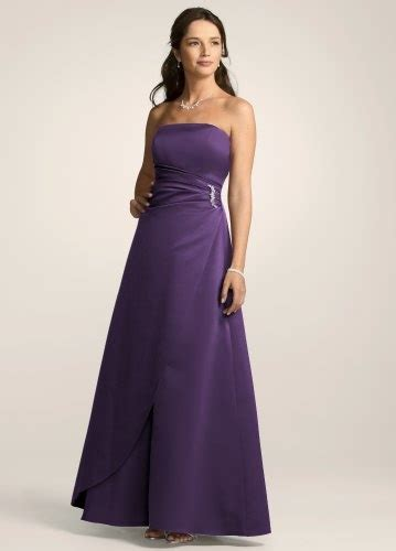 satin gown with side drape brooch david s bridal bridesmaid dresses satin gown with side