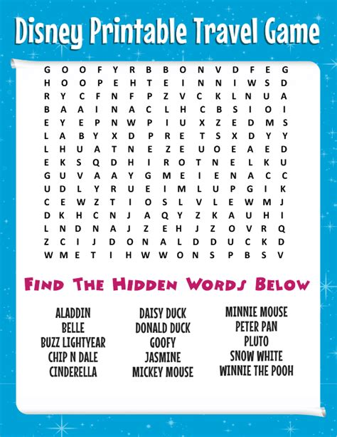 printable free word games free disney word search more printable travel games for kids