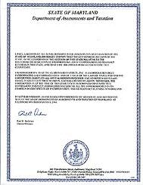 Maryland Certificate Letter Maryland Standing Certificate Maryland Certificate Of Existence