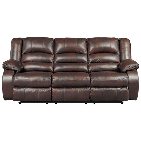 signature leather reclining sofa signature design by levelland leather match