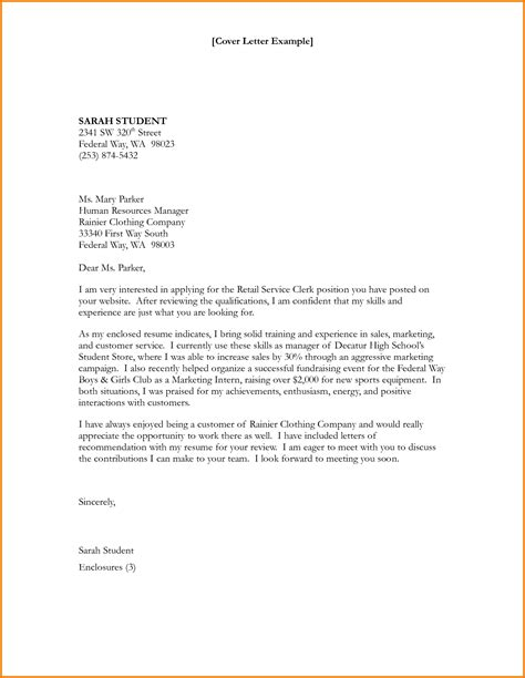 Employment Cover Letter cover letter for federal clerkship