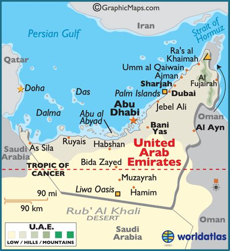 uae map united arab emirates large color map