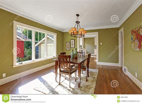 Olive Green Dining Room Walls Dining Room With Olive Tone Walls Stock Photo Image