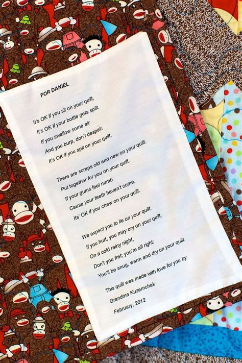 Baby Quilt Poem by Special Label For A Baby Quilt Poem By Nancy Riddell