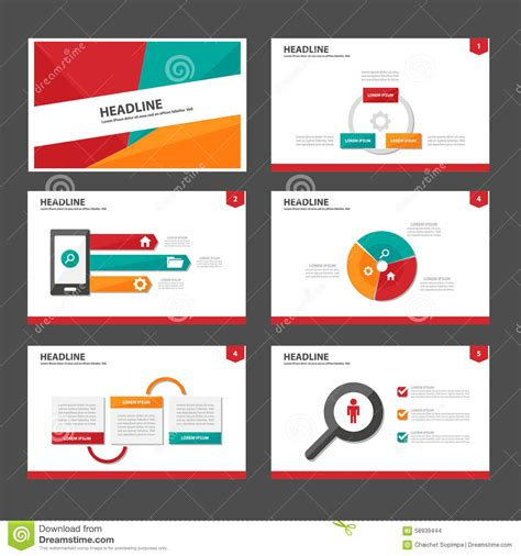 Red Green And Green Infographic Element And Icon Presentation Templates Flat Design Set For Website Design Presentation Template