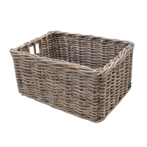 Rattan Baskets | rectangular grey buff rattan deep storage baskets