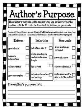 Author S Purpose Worksheet by Author S Purpose Worksheet By Handmade In Third Grade Tpt