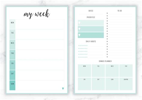 Galerry printable planner pages weekly