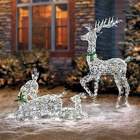 outdoor lighted deer family led lighted wireframe reindeer family outdoor yard decor ebay decor