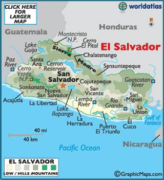 the map of el salvador el salvador map geography of el salvador map of el