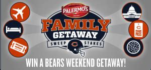 Chicago Bears Sweepstakes - the 2013 chicago bears palermo s family getaway sweepstakes win a trip to a chicago