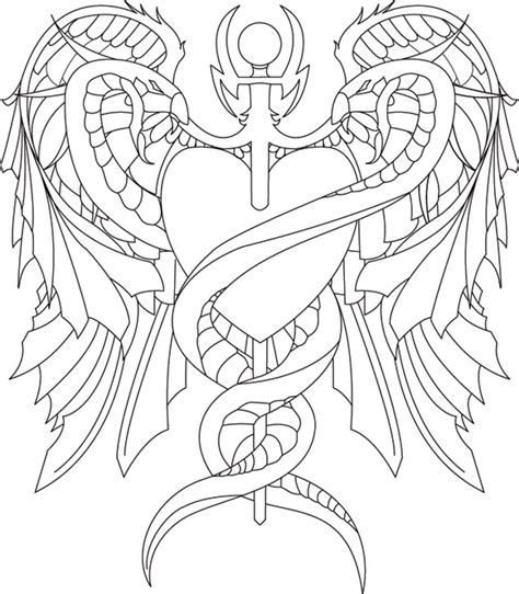 hot tattoo outlines caduceus tattoo outline by navitz on deviantart