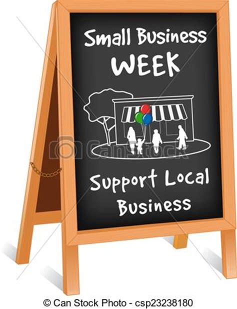 vector of sign small business week easel small business