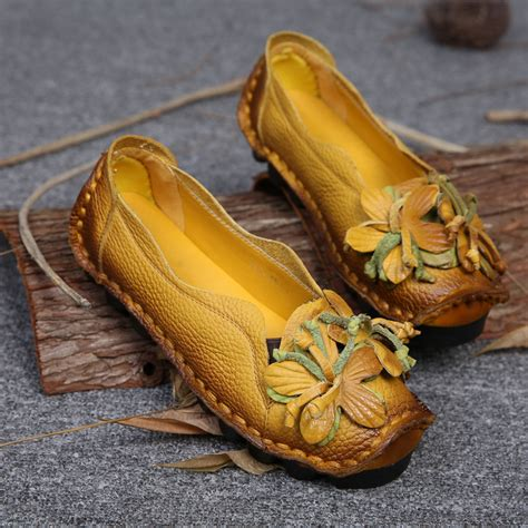 Womens Handmade Shoes - new autumn flowers handmade shoes s floral soft flat