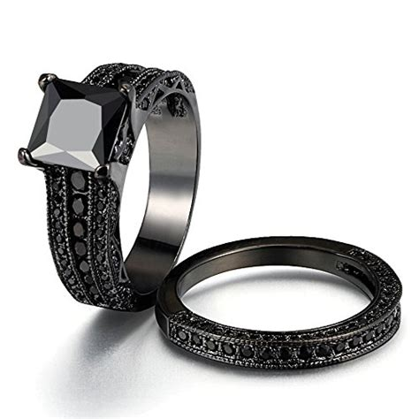 women s gothic retro black gold wedding engagement band