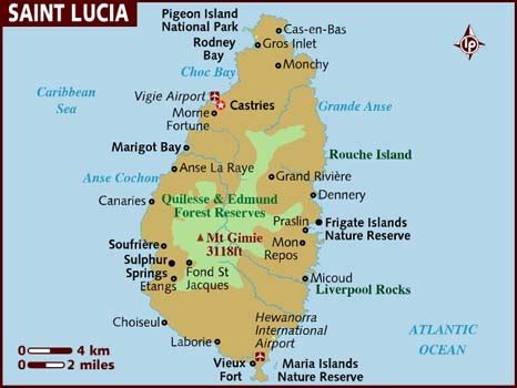 printable road map of st lucia map of saint lucia