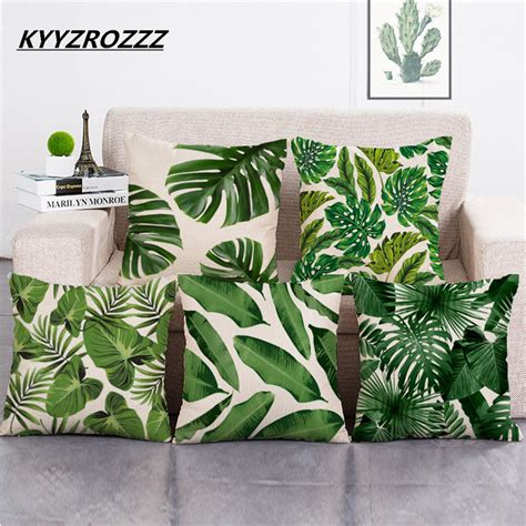 Sofa Cantik Murah aliexpress buy africa tropical plant printed cushion cover green leaves linen pillow cases