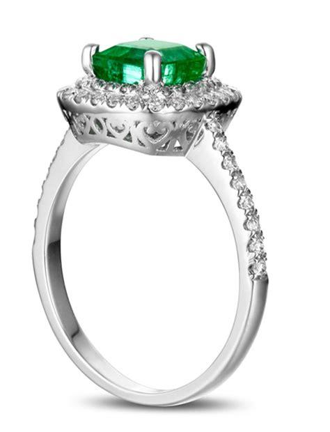carat princess cut emerald  diamond double halo