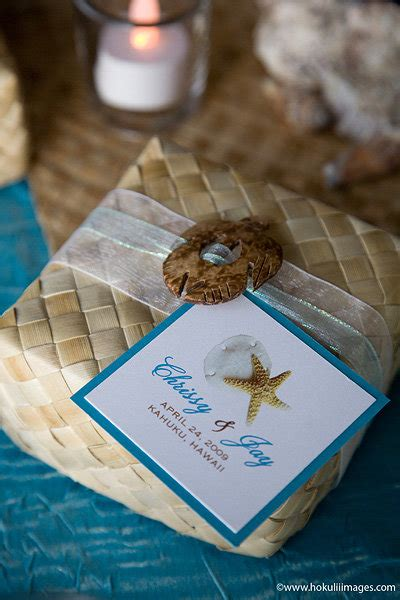makerswedding ceremony favors hawaii palmfan wedding